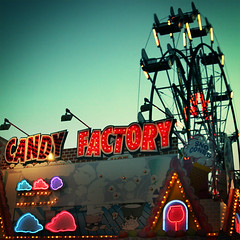 candy factory (stOOpidgErL) Tags: longexposure carnival food sign night square factory candy sweet michigan fair ferriswheel snocones candyapple harrisontownship candyfactory sthuberts stoopidgerl