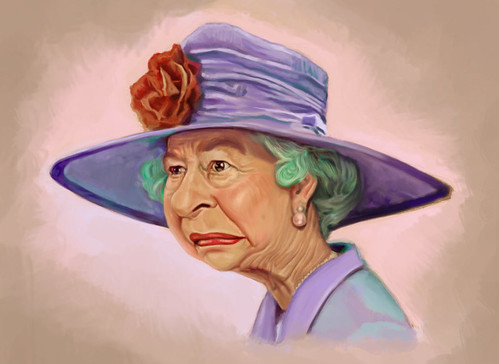 digital caricature of Queen Elizabeth II - 3 small