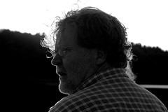My dad in the evening light (gornabanja) Tags: portrait blackandwhite lake man face backlight germany person evening blackwhite nikon dad d70 head father backlit mritznationalpark mecklemburg lutow