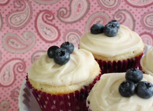 Blueberry Cupcakes with Maple Browned Butter Icing