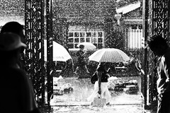 Mauritius Day 2 - Rain over Capital (simone|cento) Tags: life street trip people bw white holiday black smile rain umbrella happy mood capital welcome mauritius citizens portlouis theauthorsclub