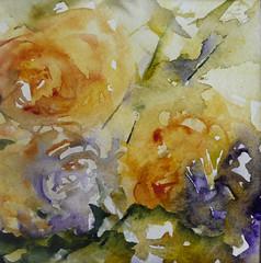 Roses (veroniquepiaser-moyen) Tags: flowers roses flower art fleur fleurs artwork artist aquarelle watercolour bouquet aquarelles