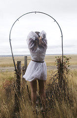 ladydaydream (yyellowbird) Tags: white house abandoned girl field southdakota arch dress ghosttown prairie cari okaton