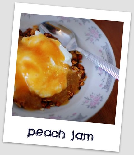 peach jam and granola