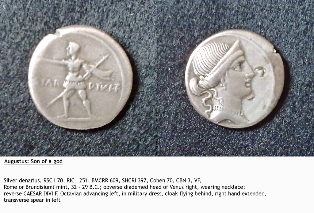 Silver denarius, Augustus: Son of a god