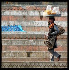 Magic Everywhere (designldg) Tags: india man fashion square expression magic atmosphere fabric soul elder varanasi kashi benares benaras ghat garment uttarpradesh भारत indiasong