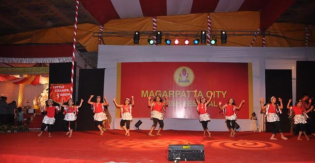 Kids performing at the Magarpatta City Ganesh Frestival