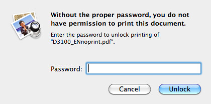 The non-printable version of the Nikon D3100 Manual is password-protected