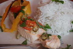 Salmon baked in coconut milk with lime and cardamom (dvarimbealma) Tags: pink fish yellow fruit tomato recipe ginger blog milk rice oven coconut sauce juice knife cook salmon fork vegetable squeeze eat lime coconutmilk bake salmonfillet bellpepper cardamom fillet fishfillet