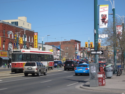 A trolley on Spadina Ave, Toronto's Chinatown