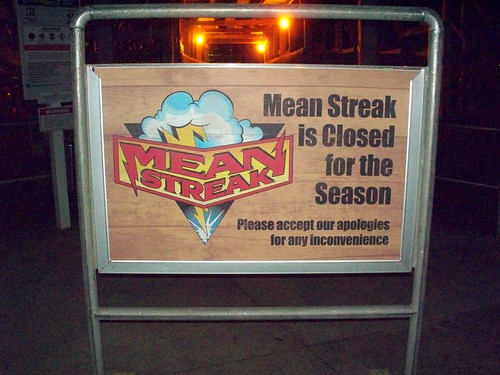 Cedar Point - Mean Streak Closed Sign