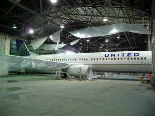 Sneak peak at the first new United plane
