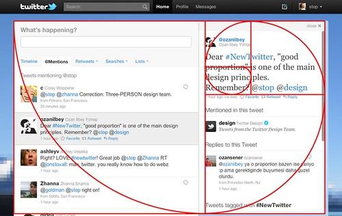 New Twitter design apply the golden ratio rule