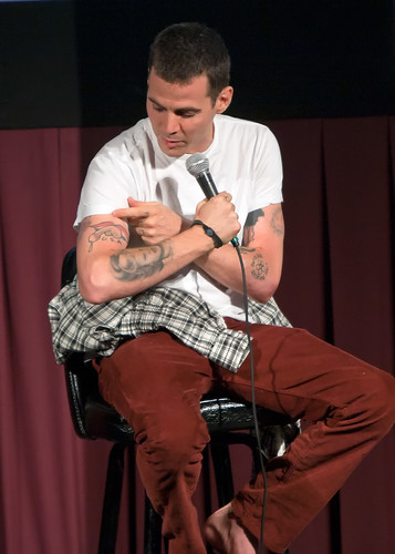 Steve-O showing off his big penis tattoo