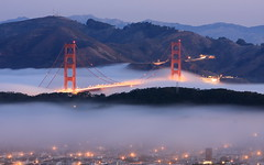 Morning Fog (A Sutanto) Tags: sf sanfrancisco california ca city longexposure morning bridge blue usa mist fog america dawn golden bay gate goldengatebridge hour goldengate ggb