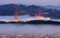Morning Fog (A Sutanto) Tags: sf sanfrancisco california ca city longexposure morning bridge blue usa mist fog america dawn golden bay gate goldengatebridge hour goldengate ggb