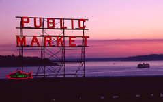 Day 230/365 - Sunset at the Public Market (Great Beyond) Tags: sunset sun slr film water set ferry analog 35mm canon project eos washington downtown image kodak slide august ishootfilm slidefilm 35mmfilm k2 pikeplacemarket kodachrome kr 365 eastman slides setting 3000v pikestreetmarket elliotbay 2010 kodachrome64 downtownseattle settingsun k14 latent eastmankodak seattlewashington project365 canoneosrebelk2 filmisnotdead canonrebelk2 kr64 iso64 kodakkodachrome64 latentimage tamronaf28200mm tamron28200mmf3856ldasphericalifsuper august2010