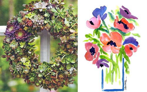 jewel tone Succulent Wreath and Watercolor