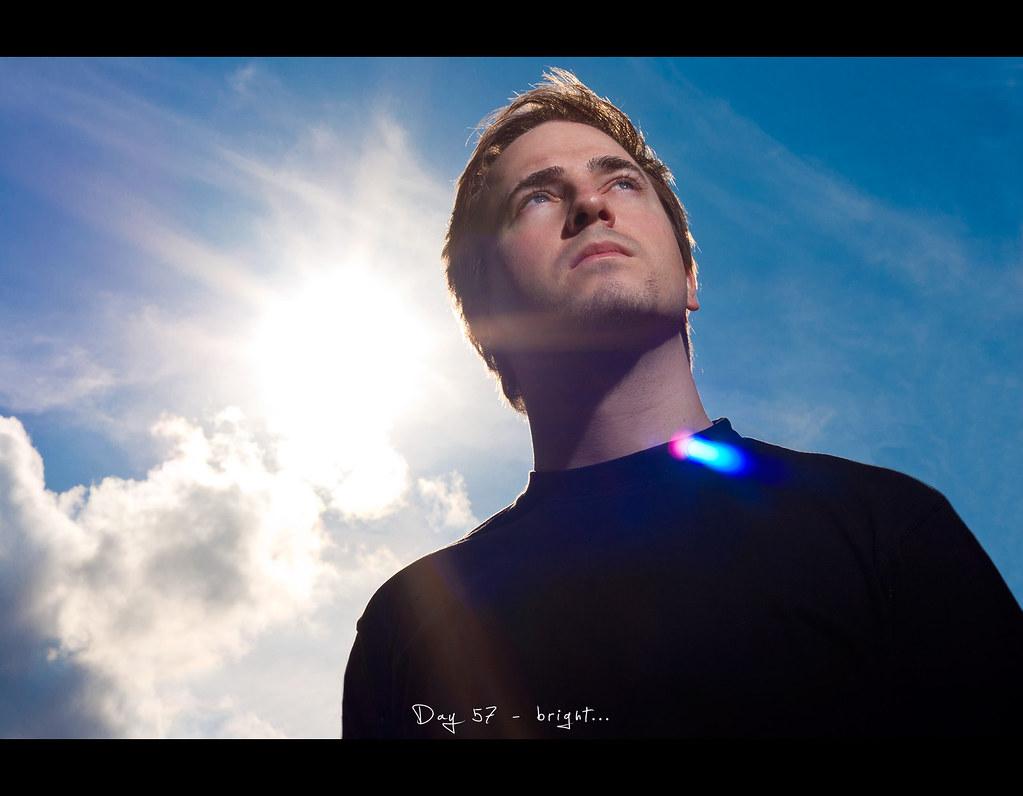 strobist, day 57, project 365, 057/365, self portrait, sun, light, bright, blue sky, flair