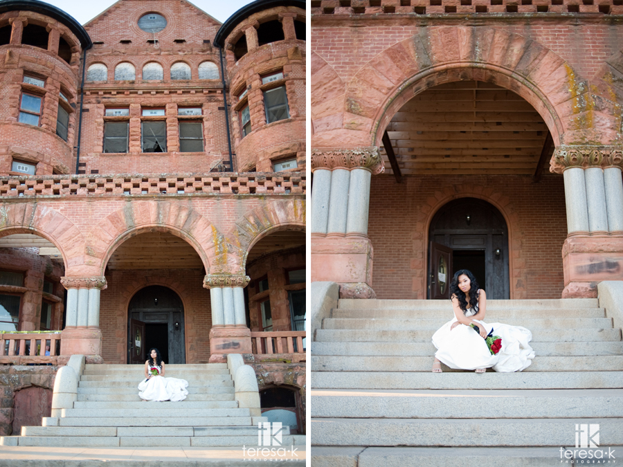 Creative bridal shots at the Preston Castle by Gold Country Wedding photographer Teresa K