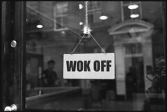 The Restaurant is Closed. (colster.) Tags: london film analog restaurant is closed voigtlander bessa soho delta off analogue 40mm r3a 3200 ilford nokton wok mmount colster