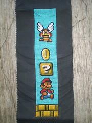 Super Mario Bookmark (Virginia's Virtues Too) Tags: crossstitch nintendo mario nes bookmark goomba supermario