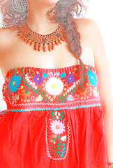 Rojo Mexicano embroidered strapless tunic dress (Aida Coronado Galeria) Tags: wedding woman girl fashion mexico clothing dress embroidery unique oneofakind mexican dresses indie hippie ethnic embroidered maxi tunic ecochic aidacoronado mexicodress