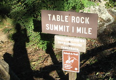 Trail sign at Table Rock