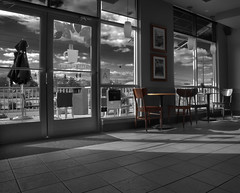 a table for two (my.i) Tags: sky bw white black clouds canon tile mono interesting starbucks lglass garyaronov