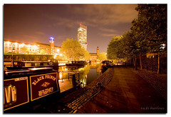 NORTHERN LIGHTS..... (vicki127.) Tags: longexposure trees friends photoshop manchester lights canal nightshot mr canon300d path greatshot castlefield barges twop hiltontower youmademyday mywinners flickraward concordians ilovemypics vickiburrows