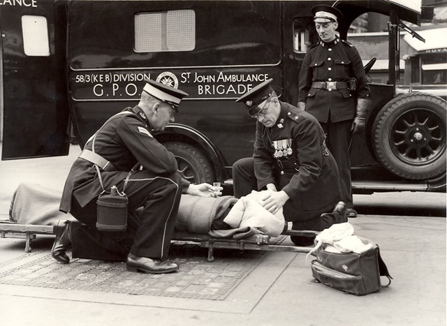 Post Office ambulance - attending to a casualty by British Postal Museum amp Archive