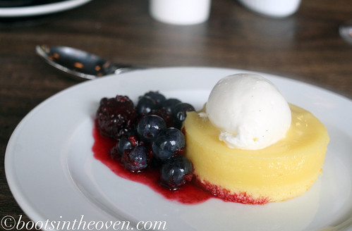 Lemon Buttermilk Souffle Cake, Summer Berries