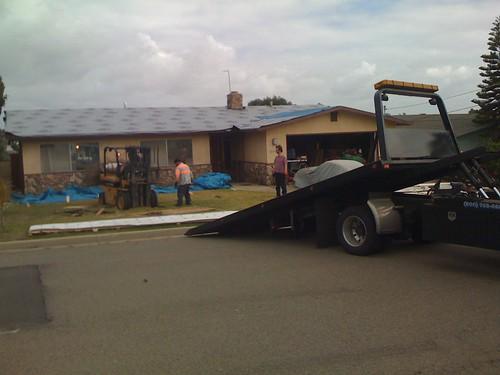 men, tow truck, forklift