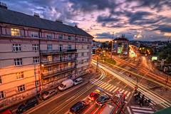 Junction (Miroslav Petrasko (hdrshooter.com)) Tags: sunset cars canon crossing tripod sigma junction slovensko slovakia 1020mm bratislava topaz photomatix 450d myto racianske theodevil