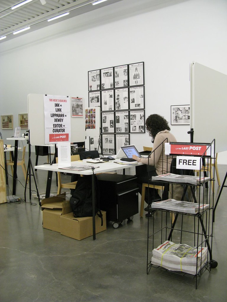Latitudes' micro-newsroom installed on the third floor of the New Museum.