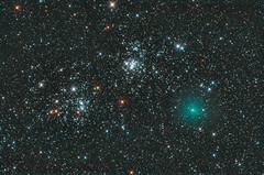 Comet Hartley2/103P passes the Double Cluster (zAmb0ni) Tags: 2 sky night stars cluster double telescope astrophotography astronomy comet hartley celestron 103p