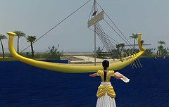 In virtual Amarna (Akhetaten) you can fly across the Nile and avoid lurking crocodiles (mharrsch) Tags: boat ancient ship egypt nile barge 18thdynasty nefertiti akhenaten virtualworld meritaten amarna virtualenvironment mharrsch akhetaten heritagekey