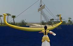 In virtual Amarna (Akhetaten) you can fly across the Nile and avoid lurking crocodiles (mharrsch) Tags: boat ancient ship egypt nile barge 18thdynasty nefertiti akhenaten virtualworld meritaten amarna virtualenvironment mharrsch akhetaten heritagekey