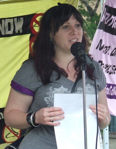 Ellen of the Pro-Choice Action Collective speaks at the Pro Choice Rally, Queens Park, George and Elizabeth Sts, Brisbane, Queensland, Australia 101009