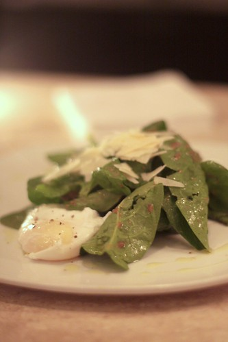 Square One - poached egg and spinach salad