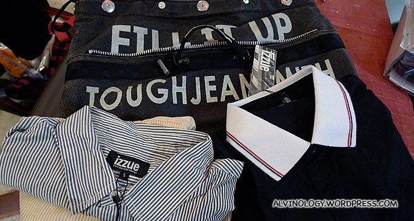 "Two shirts from Izzue and a Tough Jeans ""Fill it Up"" bag which I bought"
