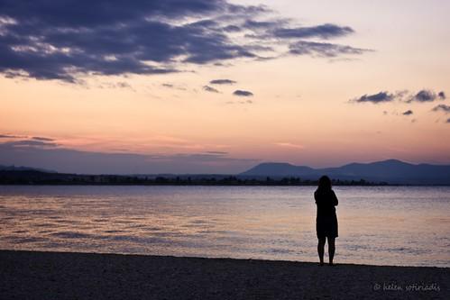 enjoying the sunset at oropos