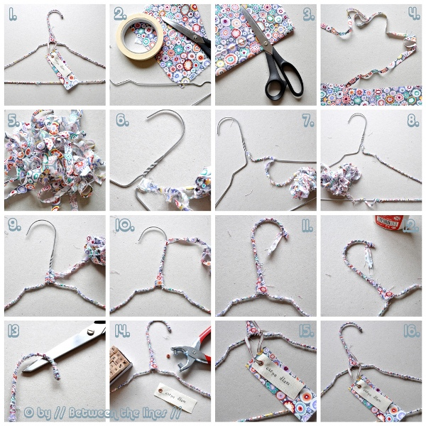 DIY hanger fabric trips padded tutorial