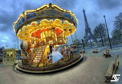 """Marry""-go-round (A.G. Photographe) Tags: blue wedding sunset fish paris france tower nikon tour married union eiffeltower marriage eiffel fisheye bleu toureiffel ag bluehour nikkor mariage merrygoround mange marry franais hdr parisian carrousel anto couchdesoleil photographe matrimony maris xiii wedlock parisien marie mari heurebleue 16mmfisheye d700 antoxiii hdr5raw agphotographe"