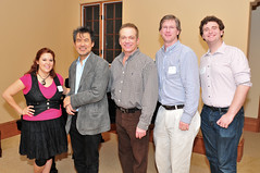 Brianna Banales (Class of 2011), David Henry Hwang, Michael Hall, Professor Bill Boles and Jonathan Keebler (Class of 2011)