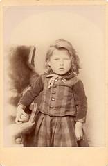Little boy in plaid shirt and skirt (sctatepdx) Tags: found oldphoto oldphotograph oldportrait vintageboy vintageportrait victorianchildren victorianchild victorianboy vintageboyinskirt