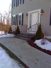 Granite steps with railings