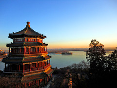 Summer palace in winter (kingdomany) Tags: world life china park city windows winter sunset summer sky ice home architecture clouds river ancient scenery glare afternoon near beijing culture royal sunny palace forbidden dust soe relics colorphotoaward