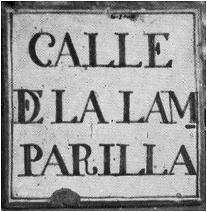 Placa de la antigua calle de la Lamparilla