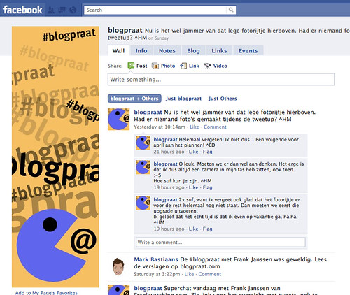 Facebook pagina '#blogpraat'